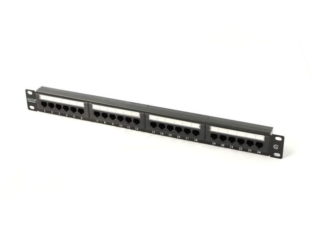 "Digitus Patch panel 19"" 24 porty, kat.5e, U/UTP, 1U, czarny (kompletny)"