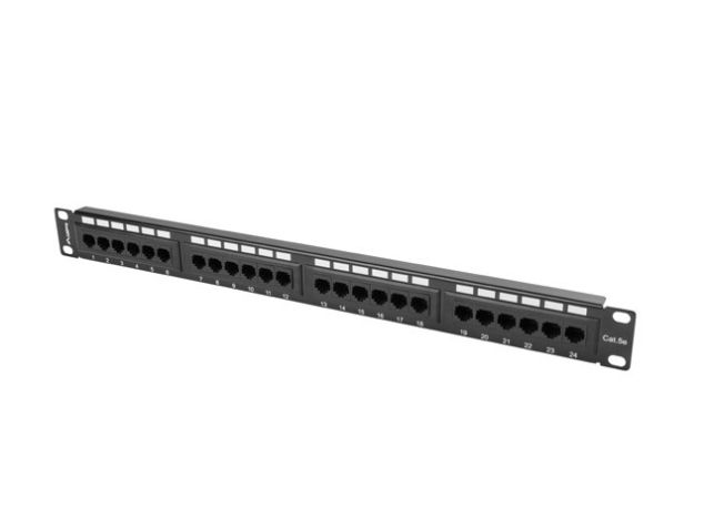 LANBERG Patch Panel 24 Port 1U Kat.5E czarny